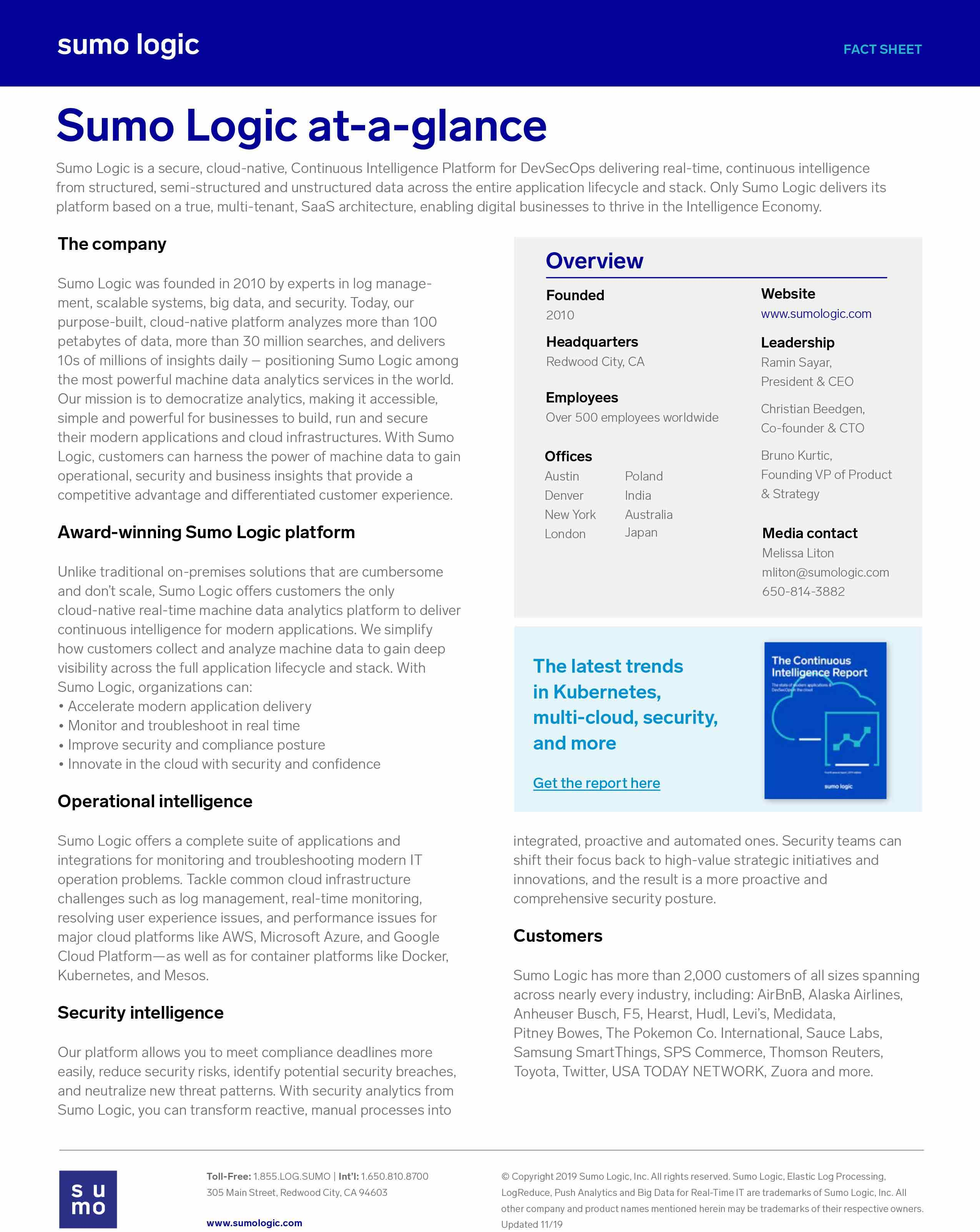 Sumo Logic At-a-Glance