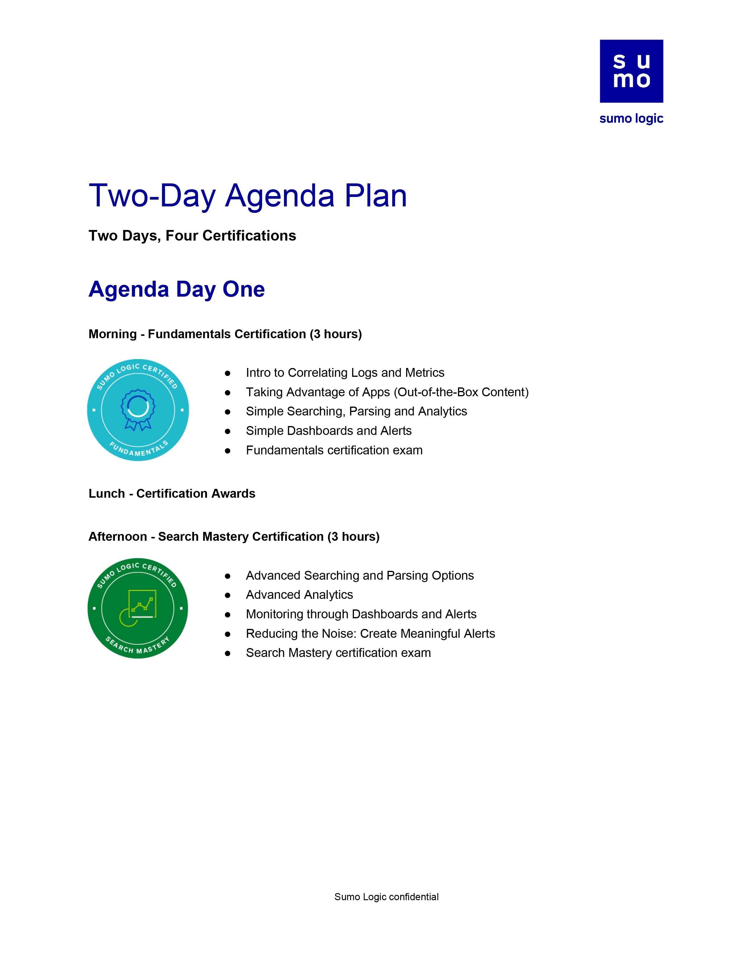 On-site Certifications Agenda